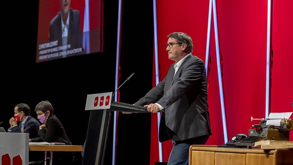 Der scheidende SP-Präsident Christian Levrat bei seiner Abschiedsrede am virtuell abgehaltenen Parteitag der SP in Basel.
