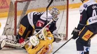 Tobias Stephan verletzte sich in dieser Aktion gegen den Bieler Marco Pedretti