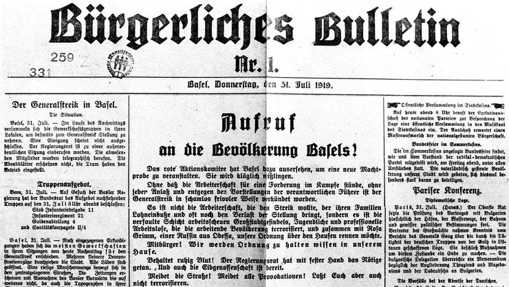 Propagandaschlacht: Das «Bürgerliche Bulletin» als Instrument gegen den Streik.