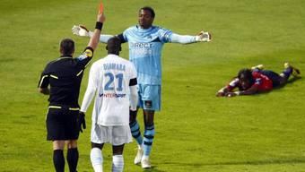 Marseille-Goalie Steve Mandanda musste bereits nach 25 Minuten unter die Dusche