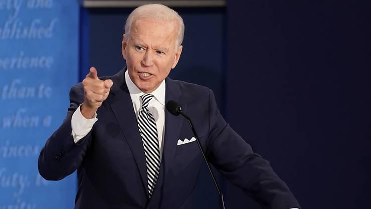 Joe Biden, Präsidentschaftskandidat der Demokraten, spricht während der ersten Präsidentschaftsdebatte. Foto: Morry Gash/AP Pool/dpa