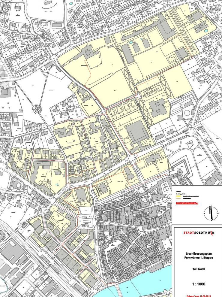 Fernwärmenetz im Norden der Stadt Solothurn. In gelben Zonen besteht Anschlusspflicht.