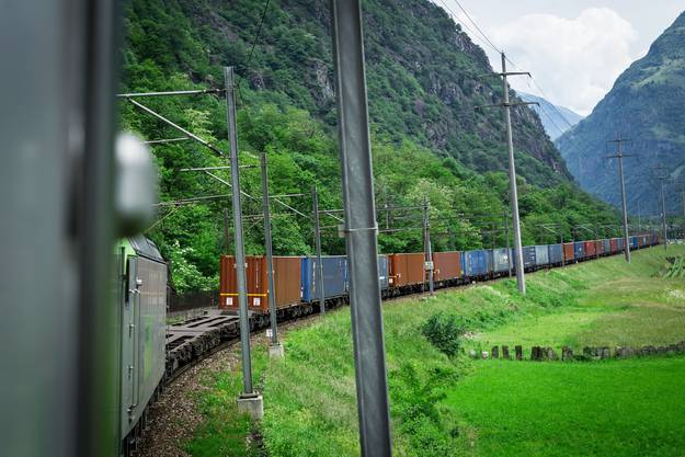 Blick aus dem Fenster auf den Containerzug: 14 Wagen, 1157 Tonnen schwer, 510 Meter lang. Die Güter müssen von Milano nach Duisburg.