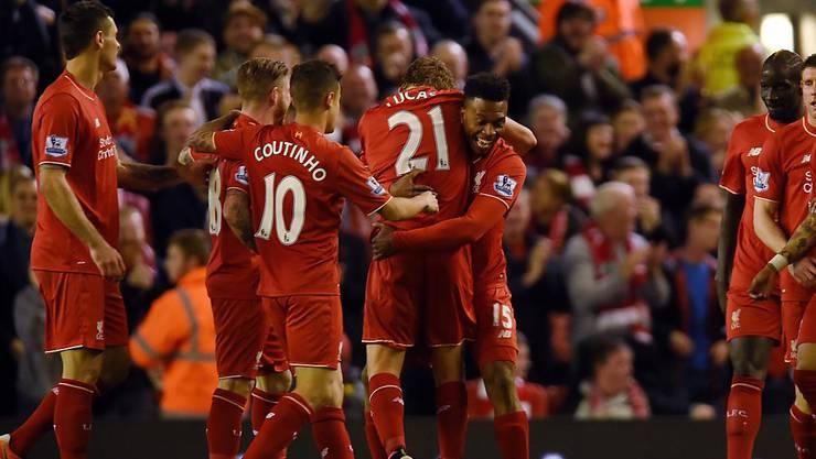 Durften im Derby gegen Everton gleich vier Treffer feiern: die Spieler von Liverpool