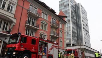 Feuerwehr in Badener Innenstadt - wegen brennender Zigarette