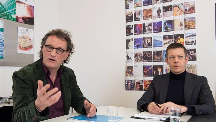 Stadtammann Geri Müller und Thomas Lütolf, Leiter Standortmarketing der Stadt Baden, wollen die Trümpfe der Stadt Baden ausspielen.