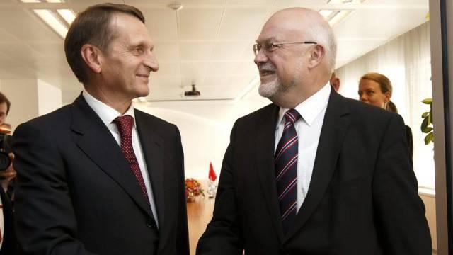 Duma-Präsident Naryschkin (l) und Nationalratpräsident Lustenberger
