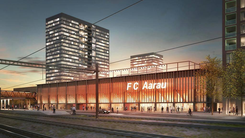 So könnte es aussehen: Das neue Fussballstadion in Aarau mit insgesamt vier Hochhäusern. Noch hat das Projekt nicht alle Hürden übersprungen.