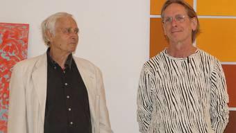 Hans Anliker (links) und Stefan Muntwyler vor ihren Bildwelten.