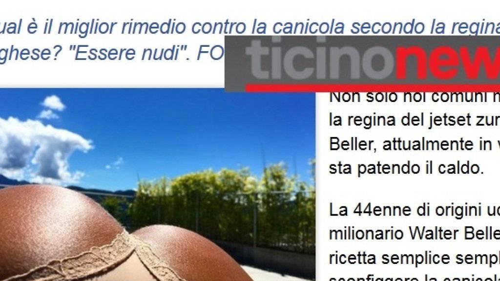 """Derzeit kursieren wieder Promi-Ferienfotos in Sozialen Netzwerken und Nachrichtenmagazinen. Hier eins von Irina Beller in den """"ticinonews"""" (Ausriss """"ticinonews"""")"""