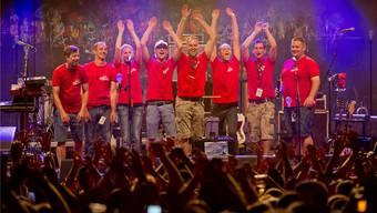 Das OK, bestehend aus (v.l.) Patrick Stampfli, Reto Meier, Daniela Brunner, Roger Brunner, Martin Meier, Michael Hüsler und Andreas Widmer, verabschiedete sich am Samstag vom Feelgood Festival.