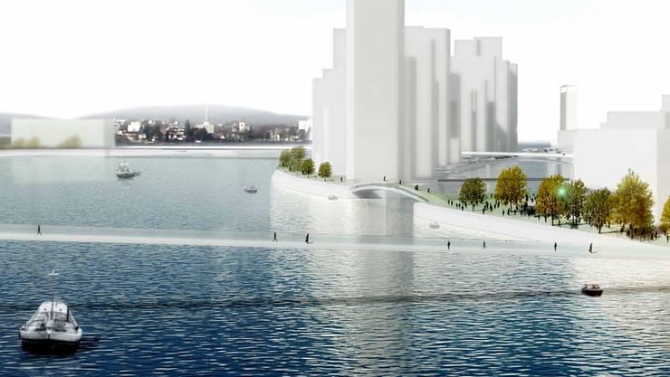 Das Architekturbüro MVRDV hat sich die neue Rheininsel (Blick von der Dreirosenbrücke) so vorgestellt. Die Visoin wird aber kaum umgesetzt.