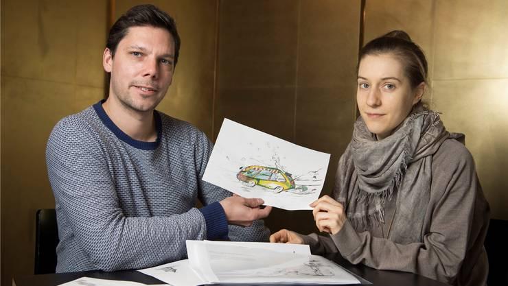 Simon Libsig und Nora A. Gerber haben gemeinsam das Kinderbuch «Grimmassi & Schnecke» gestaltet.Alex Spichale