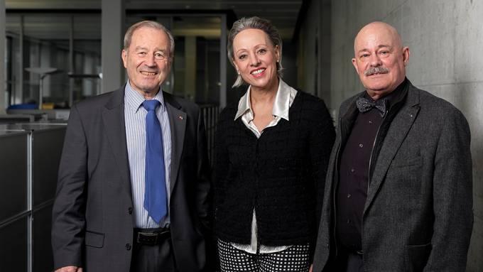 Drei der acht Kandidierenden: Spitzenkandidat Maximilian Reimann, Barbara Buhofer und Robert P. Hilty.