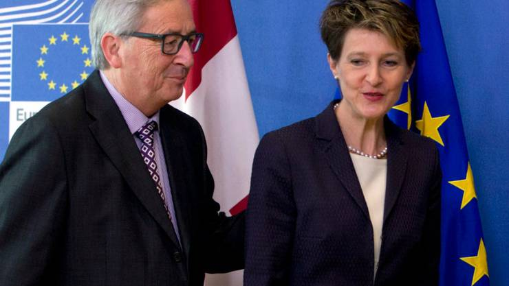 2015: Dieses Duo liess viele auf ein Ende der Eiszeit hoffen: EU-Kommissionspräsident Jean-Claude Juncker (links) zusammen mit der Schweizer Bundespräsidentin Simonetta Sommaruga.