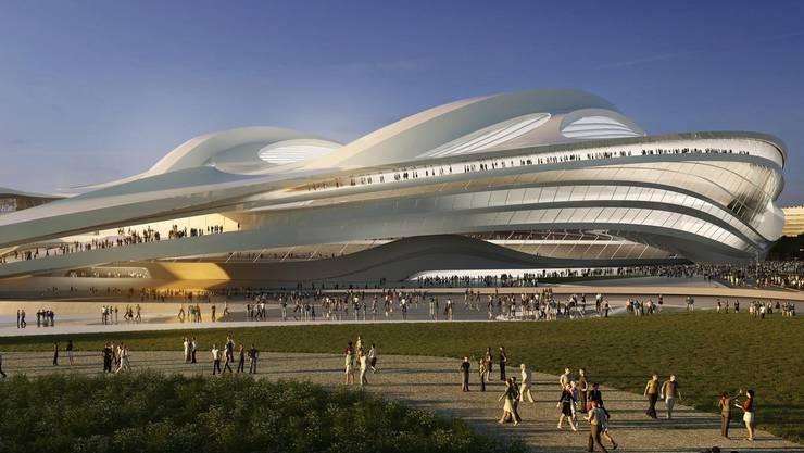So soll das von Zaha Hadid designte Olympiastadtion für die Spiele 2020 in Tokyo aussehen.. Das Fassungsvermögen des Hauptstadtions beträgt 80000 Menschen.