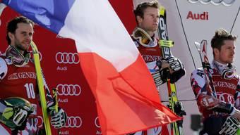 Alexis Pinturault (Mitte) und seine französischen Teamkollegen sind den Österreichern mit Philipp Schörghofer (links) und Marcel Hirscher dichter als gewohnt auf den Fersen.