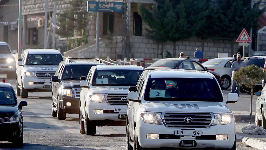 UNO-Inspektoren auf dem Weg vom Libanon nach Syrien: Der UNO-Sicherheitsrat beschloss, dass Giftgasangriffe in Syrien für ein weiteres Jahr untersucht werden sollen. (Symbolbild)