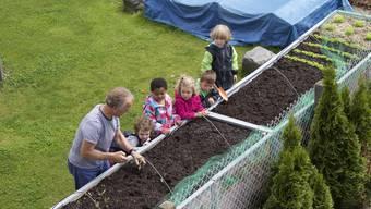 Kinder lernen früh, dass Nahrung in der Erde wächst.  zvg