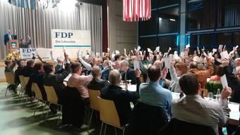 """Einstimmig sagten die Delegierten der FDP Kanton Solothurn in der Mehrzweckhalle Subingen """"Nein"""" zur Zersiedelungsinitiative."""
