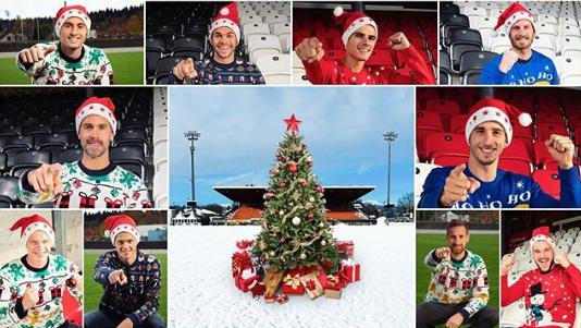 Die FCA-Spieler machen im «Ugly Christmas Sweater» Werbung für den Adventskalender.