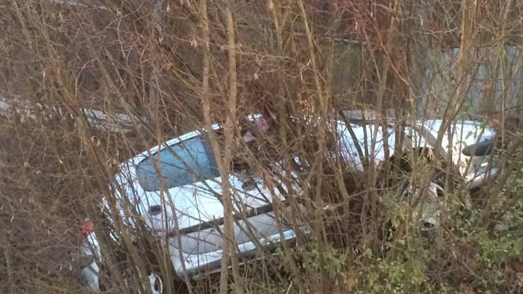 Das Auto kam in einem Bach zum Stillstand.