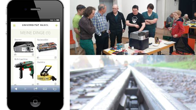 Drei Final-Projekte des «Faktor-5-Preises»: Sharing Community der Uni Basel, das Repair-Café in Weil am Rhein und die Schienenheizung der BLT.