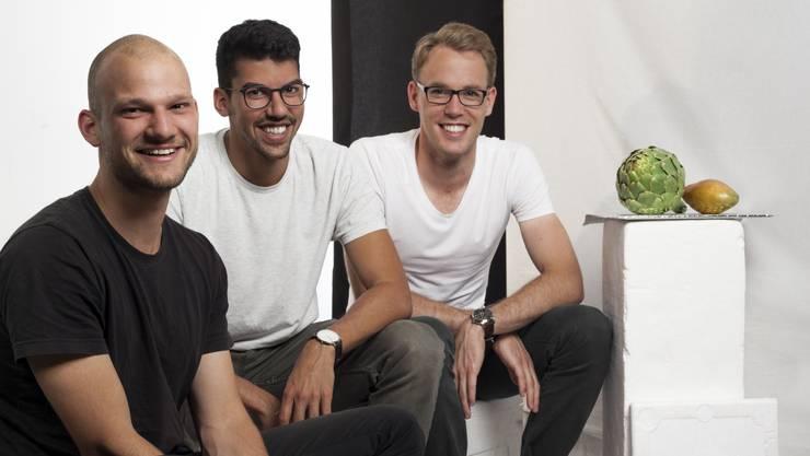Thomas Bösch, Tim Schmid und Mischa Aeppli bringen regionales Essen zum Arbeitsplatz ihrer Kunden