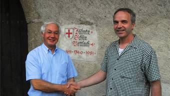 Robert Mathys (l.) und Familie unterstützen Peter Gross und den Verein.
