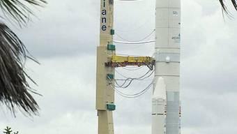 Ariane-5 kurz vor ihrem Start in Guayana