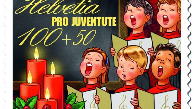 Die A-Post-Marke der Pro Juventute zeigt in diesem Jahr eine Schulklasse beim Singen von Weihnachtsliedern. Der Erlös kommt Kindern und Jugendlichen in Not zugute.