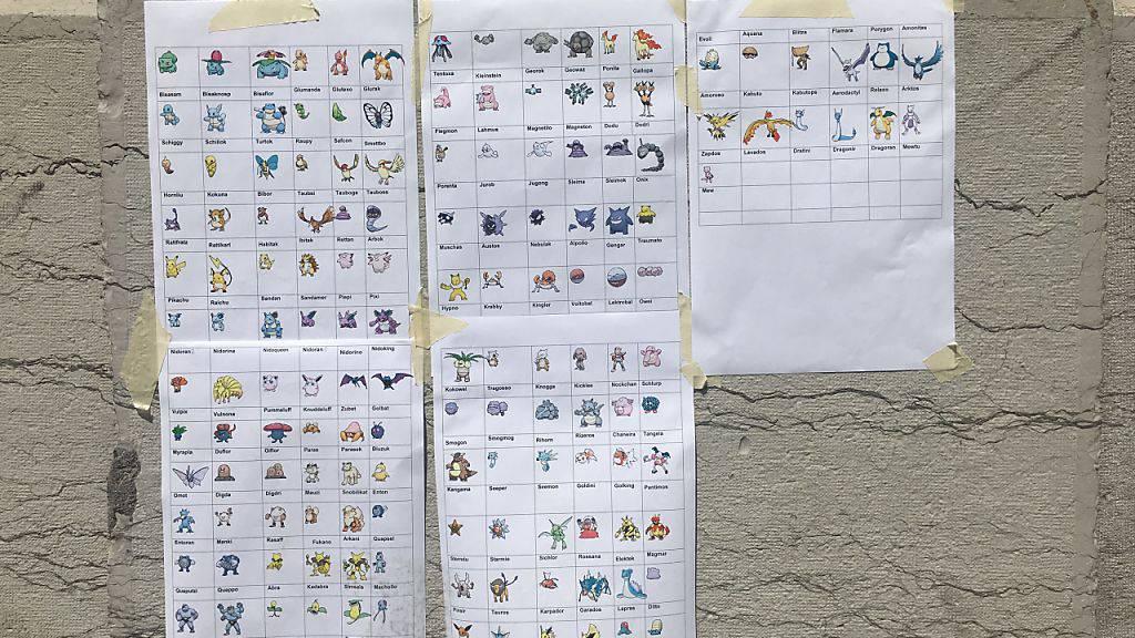 Die papierene Anleitung zu einer virtuellen Schatzsuche: Am Berner Casinoplatz lassen sich die abgebildeten Pokémon finden.
