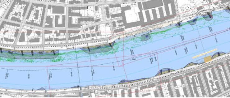 Pläne zeigen die geplanten Buhnen im Kleinbasel. bz-Archiv/BVD