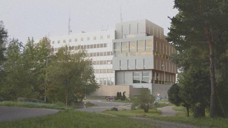 Der geplante Annexbau (rechts) am Polizeikomando-Gebäude in Aarau (Visualisierung)