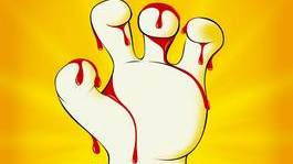 Die blutverschmierte Hand von Micky Mouse.