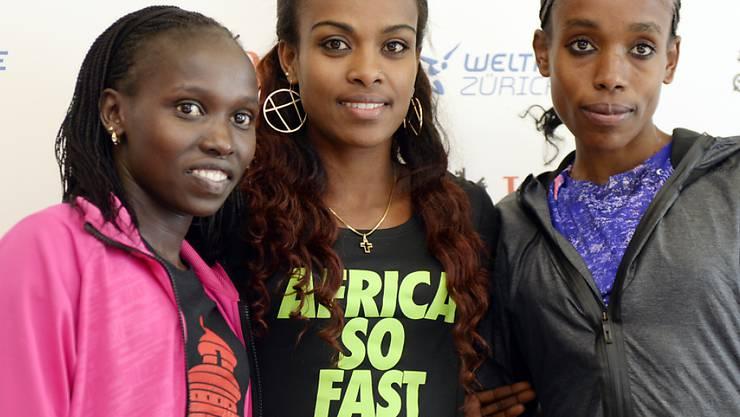 Vivian Cheruiyot, Genzebe Dibaba and Almaz Ayana treten heute im Letzigrund gegeneinander an