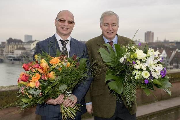 Hier ist Heiner Vischer nach der Wahl zum Statthalter 2018 zu sehen, zusammen mit dem noch amtierenden Grossratspräsidenten Remo Gallacchi (CVP, links).