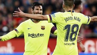 Lionel Messi und Jordi Alba bejubeln den 2:0-Sieg des FC Barcelona in Girona