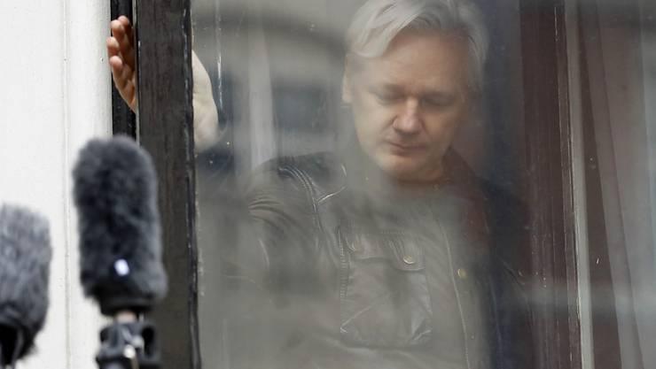 Hat kein Internet mehr: Wikileaks-Gründer Assange in seinem Exil in der ecuadorianischen Botschaft in London. (Archiv)