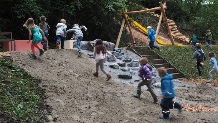 Nach drei Jahren Vorbereitungszeit wurde der neue Kinderspielplatz auf der Feldschen in Schinznach-Dorf am 1. September 2018 feierlich eingeweiht.Kaum hatte Gemeindeammann Urs Leuthard den Countdown beendet, stürmten die Kinder auch schon die brandneuen Spielgeräte.