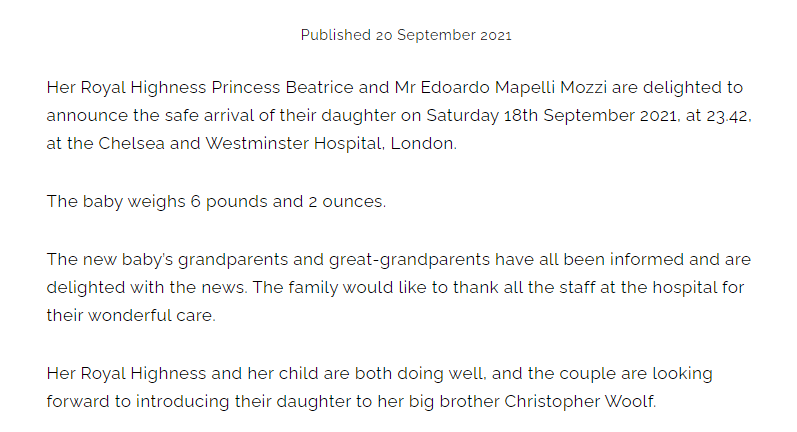 Das offizielle Statement der Royal Family.