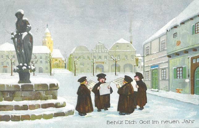 «Behüt Dich Gott im neuen Jahr». Diese Karte mit den herzigen Sängern wurde im Dezember 1924 verschickt.