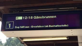 Am Perron in Oberdorf wird der Zugausfall signalisiert