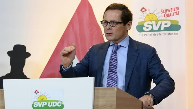SVP-Nationalrat Roger Köppel schwor die Delegierten auf den Kampf gegen das Rahmenabkommen mit der EU ein.
