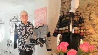 Die Designerin Marianne Gnehm zeigt in ihrem Laden und Atelier eine Jacke, die sie aus alten Jeans gefertigt hat.