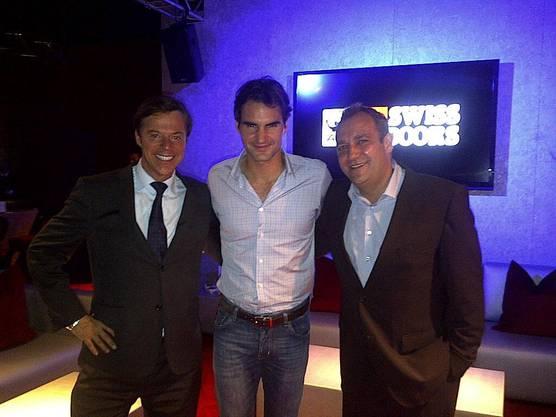 Thomas Matter (rechts) mit Roger Federer und Christoph Mörgeli