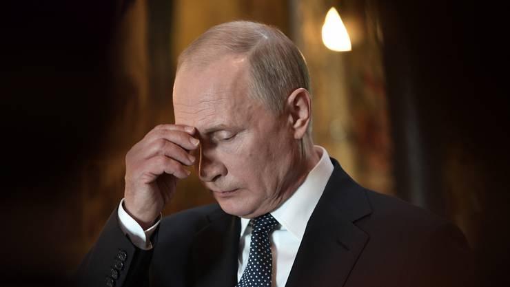 In Gedanken versunken: Wladimir Putin während seiner Vereidigung.