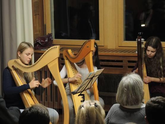 Umrahmt wurde die Vernissage vom Harfenensemble der Musikschule.