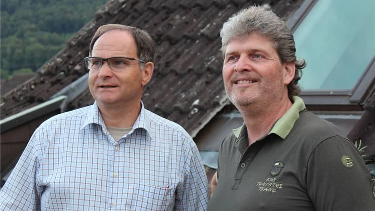 René Grütter (links) kandidiert als Gemeinderat und als Gemeindeammann, Hans-Ruedi Bleuel als Gemeinderat und als Vizeammann. zvg