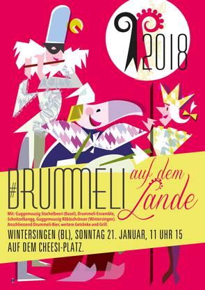 Das Drummeli zieht aufs Lande. Die Vorfasnachtsveranstaltung spielt in Liestal und in Wintersingen (Plakat).